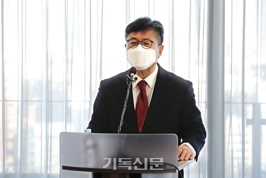 강대흥 KWMA 사무총장이 취임소감을 전하고 있다.