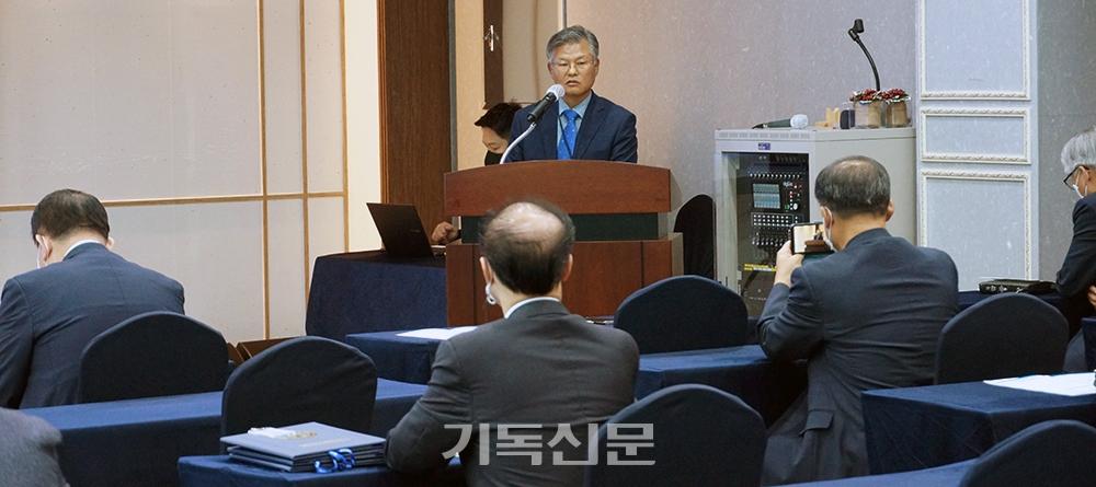 한국성시화운동협의회 각 시도 대표들이 모여 세계성시화운동본부와의 단일화 문제를 논의하고 있다.